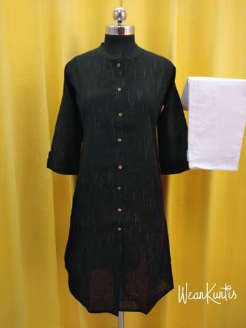 Premium Black Cotton Kurta with white cotton Palazzo set, front open placket,(Refer Size chart, 3rd, 4th pic before ordering, No Refund, No Return, No exchange, No cancellation), Round Neck, Height -44, 3/4 Sleeves,  Elasticated waist for comfort fit, Flared palazzo