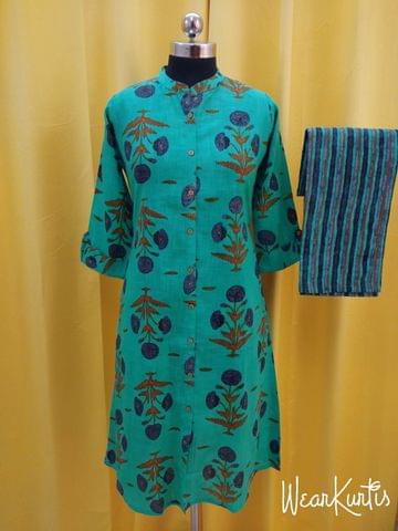 Mughal Printed Turquoise Blue and Multicolor Slub Cotton Kurta with Printed Palazo set, straight cut with buttons in centre front open placket, (Refer Size chart, 3rd,4th pic before ordering, No Refund, No Return, No exchange, No cancellation), Mandarin Collar, Height- 44, 3/4 Sleeves with flaps ,two side pocket, slip-on Bottom, Elasticated back waist band and front waist band for comfort fit, Flared palazo