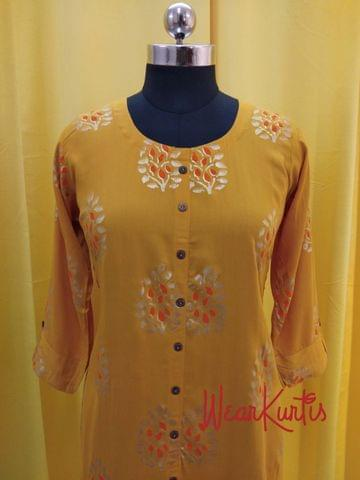 Golden Printed Yellow Modal fabric  Kurti with  Front closed placket (Refer Size chart, 3rd pic before ordering, No Refund, No Return, No exchange, No cancellation), Round Neck, Height 45, 3/4 sleeves with flaps, front and side slits.
