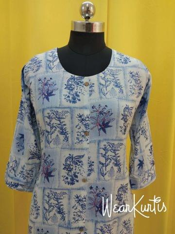 Floral Printed White and Blue Modal Fabric Kurti With  front closed placket (Refer Size chart, 3rd pic before ordering, No Refund, No Return, No exchange, No cancellation), Mandarin Collar, Height-45, 3/4 Sleeves with flaps, front and side slits