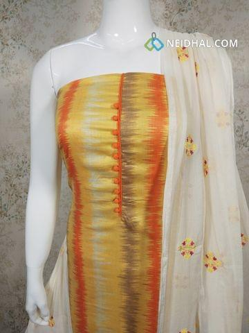 Printed Cotton unstitched salwar material with potli buttons on yoke, Orange cotton bottom, embroidery work on chiffon dupatta with taping