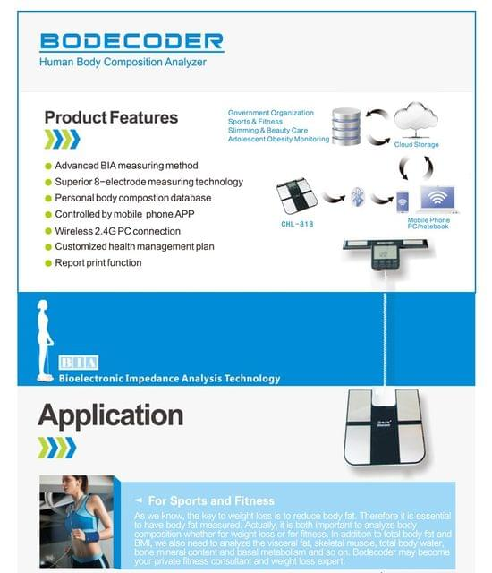Bodecoder Body Fat Analyser scale with Print out