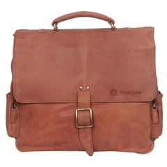 Hidegear Genuine Vintage Leather Office Messenger Bag, MBBP0183TN Tan