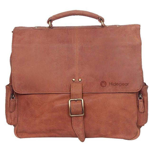 Hidegear Genuine Vintage Leather Office Messenger Bag, MBBP0183TN Tan
