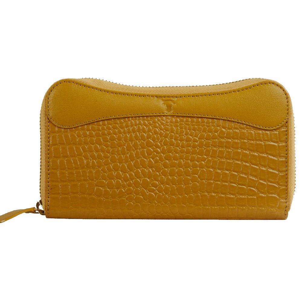 Hidekraft   Genuine Leather  women's Wallet, LDMYDU0515, Yellow