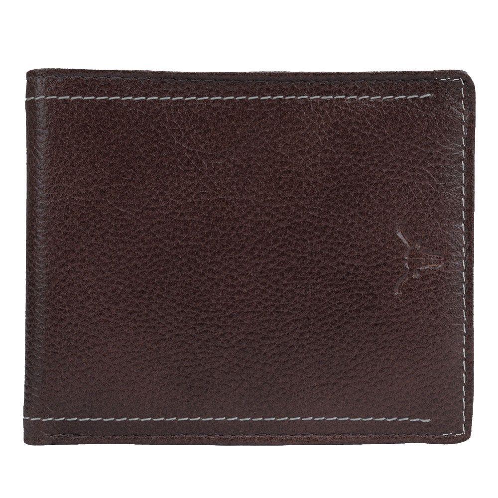 Hidekraft Men's Leather Wallet, WLBRDU0415 Brown