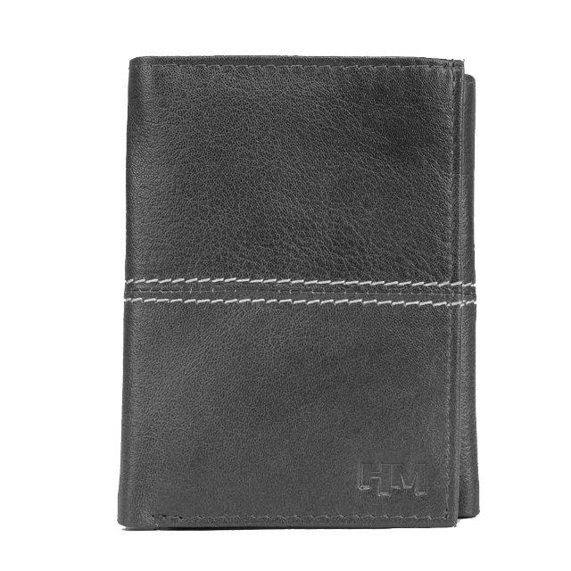 Hidemaxx Men Leather Trifold Wallet ,TRBLDU0121X Black