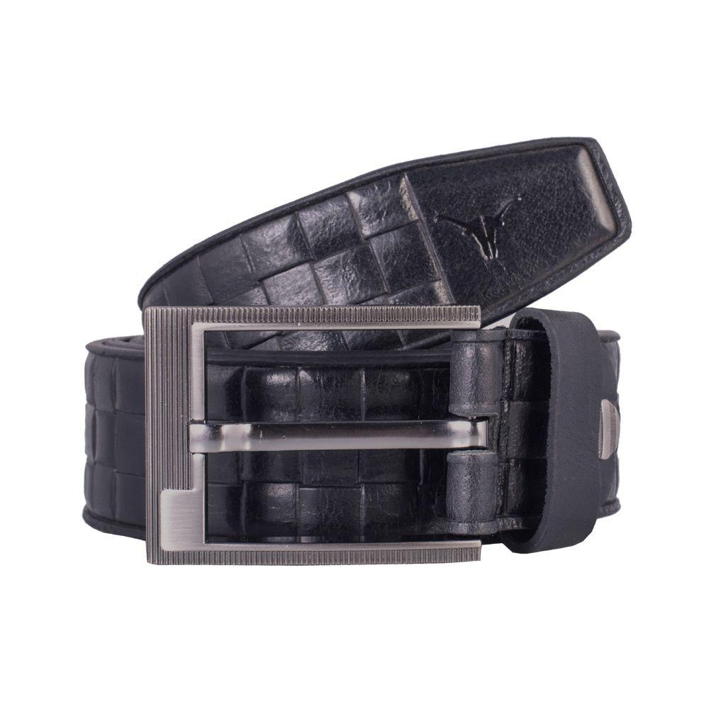 Hidekraft Genuine Leather Mens Casual Belt, BTMCAS0110 Black