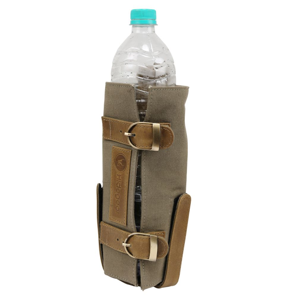 Hidegear Leather-Canvas Bottle Holder, HGOLBH0242 Olive
