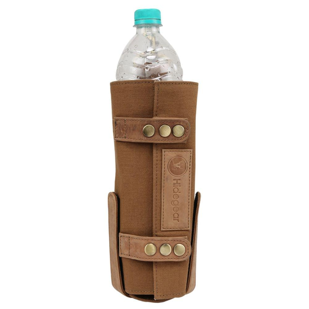 Hidegear Leather-Canvas Bottle Holder, HGTNBH0243 Tan