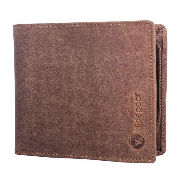 Hidegear Men's Vintage Leather Wallet ,WLTNDU2016H Tan