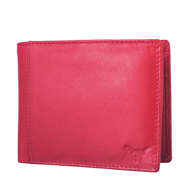 Hidekraft Men's Genuine Leather Wallet, WLRDDU1113 Red