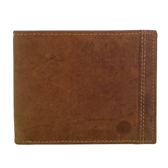 Hidekraft Men's Vintage Leather Wallet, WLTNDU0705 Tan