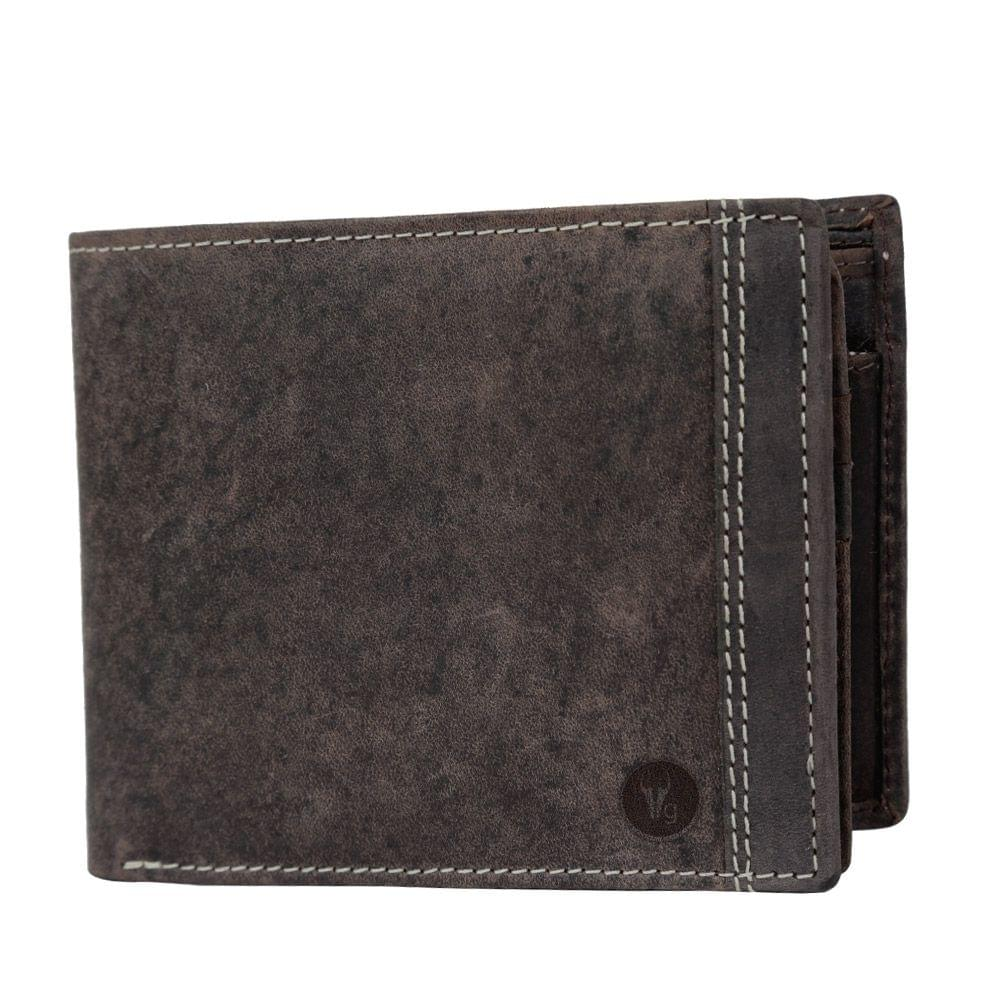 Hidegear Men's Vintage Leather Wallet,WLCBDU0705 Brown