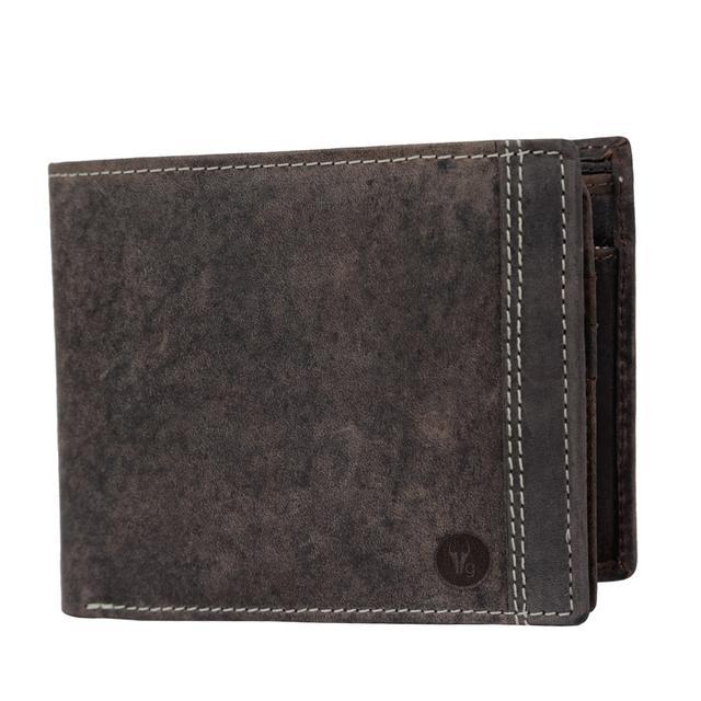 Hidegear Men's Vintage Leather Wallet,WLCBDU0705 Brown