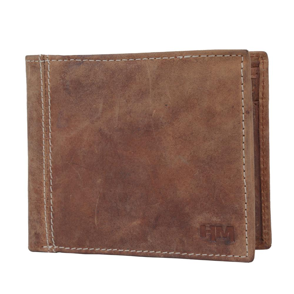 Hidemaxx Men's Vintage Leather Wallet, WLTNDU0707X Tan