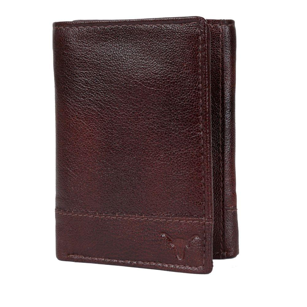 Hidekraft Men Leather Trifold Wallet ,TRBBPU1158 Brown