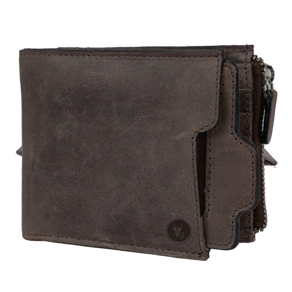 Hidegear Men's Vintage Leather Wallet,WLBRDU0416H Brown