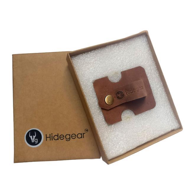 Hidegear Leather Earphone/USB Cord Holders ,HGUBTN0203 Tan