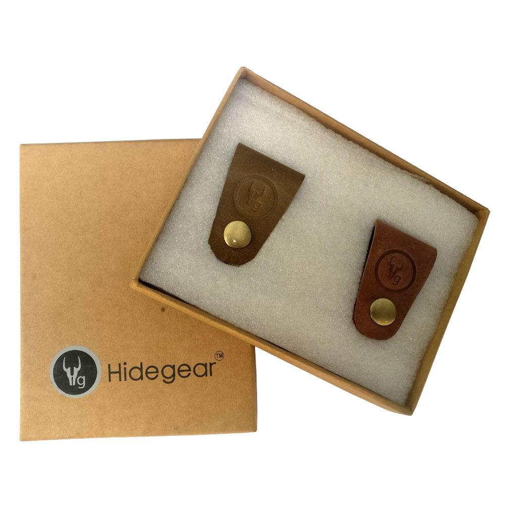 Hidegear Leather Earphone/USB Cord Holders Set of 2  ,HGUBTO0204 Olive/Tan