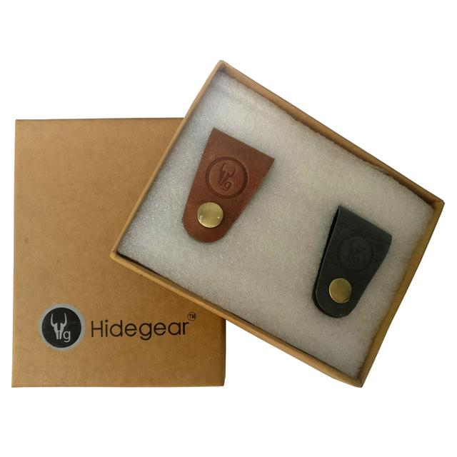 Hidegear Leather Earphone/USB Cord Holders Set of 2  ,HGUBTG0204 Grey/Tan