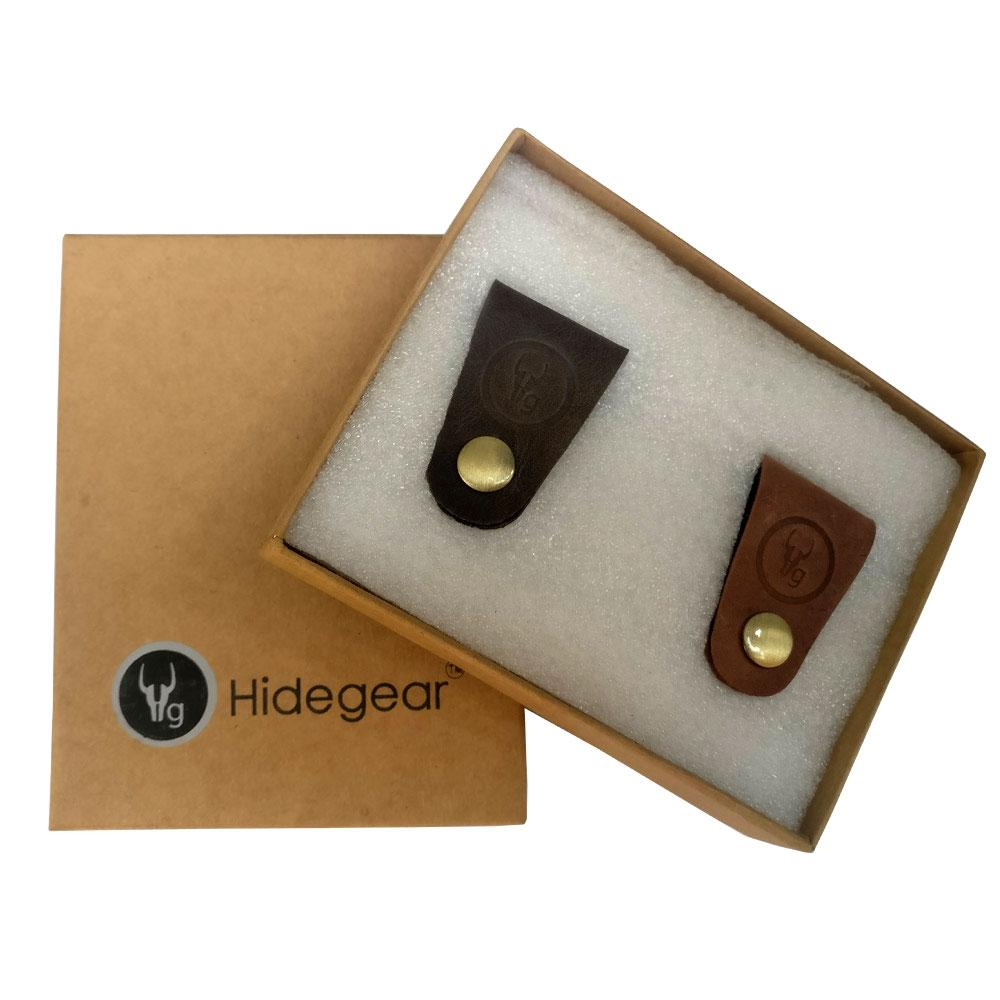 Hidegear Leather Earphone/USB Cord Holders Set of 2  ,HGUBTB0204 Brown/Tan