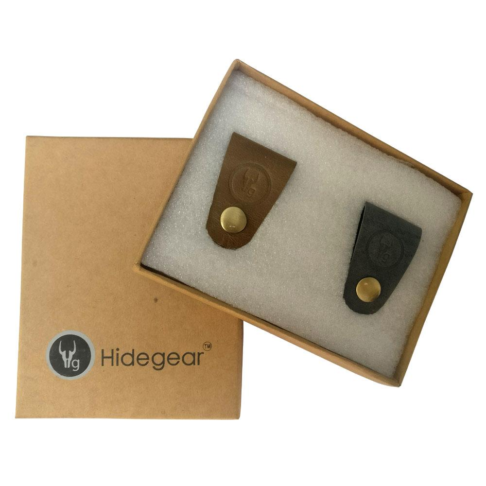 Hidegear Leather Earphone/USB Cord Holders Set of 2  ,HGUBOG0204 Olive/Grey