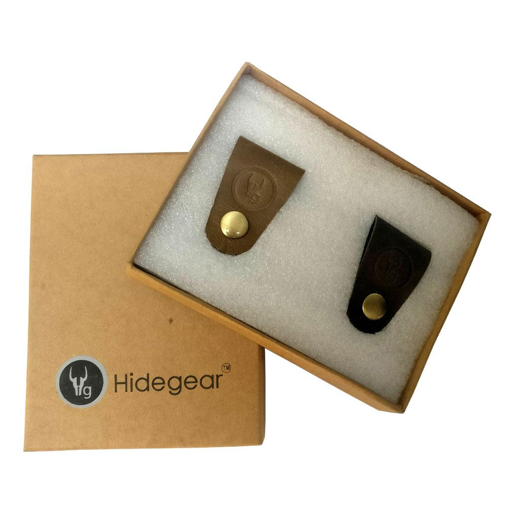 Hidegear Leather Earphone/USB Cord Holders Set of 2  ,HGUBOB0204 Olive/Brown