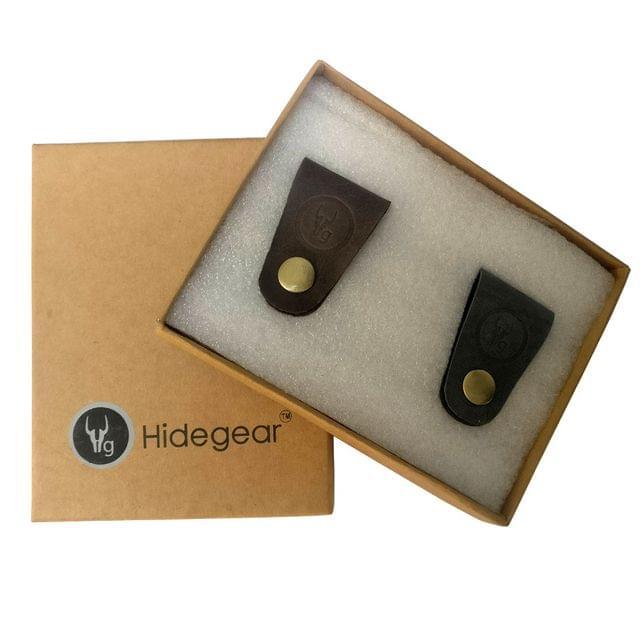 Hidegear Leather Earphone/USB Cord Holders Set of 2  ,HGUBGB0204 Brown/Grey