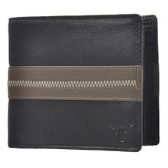 Hidekraft Men's Leather Wallet ,WLGYDU1149 Black/grey