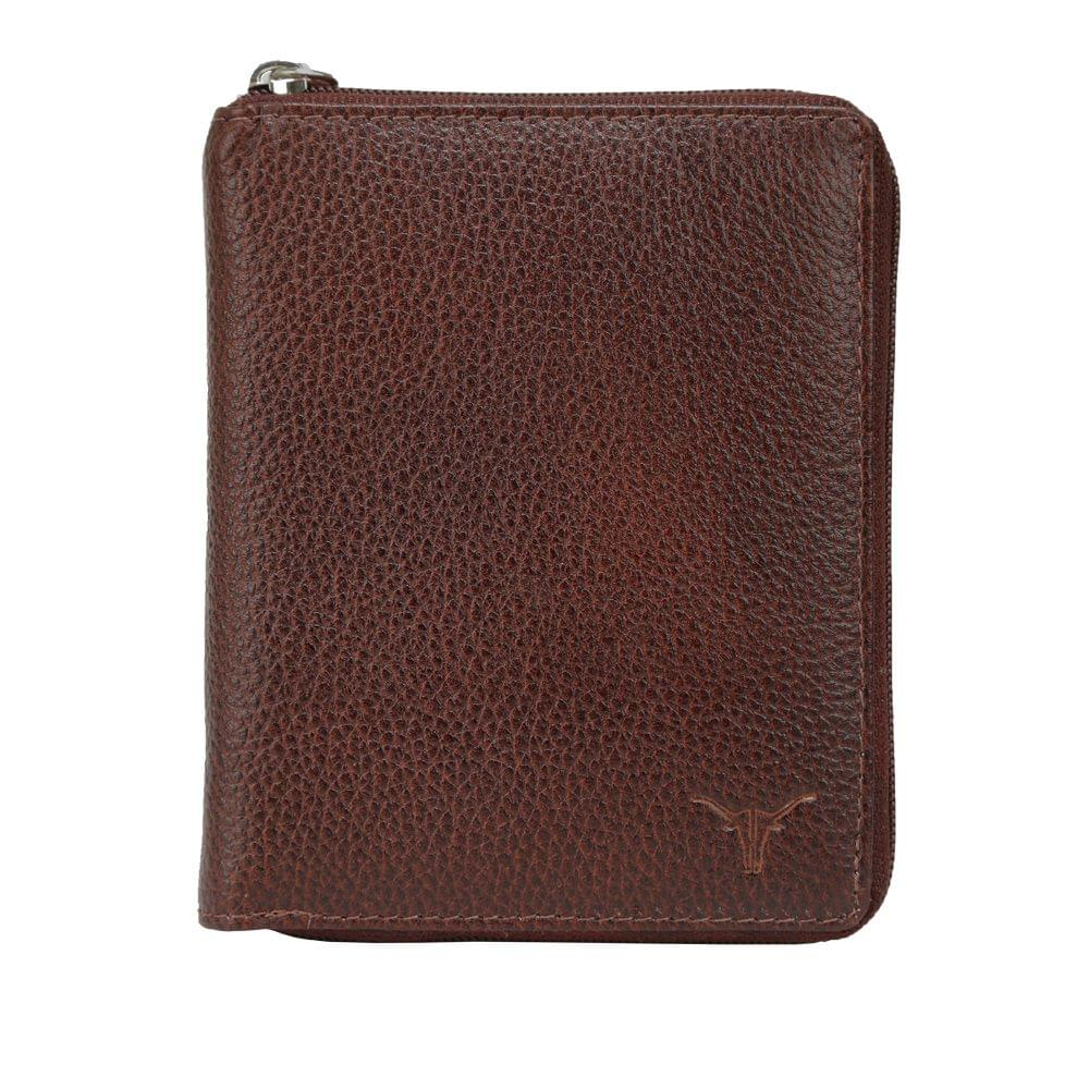 Hidekraft Leather Zip Around Wallets For Men , NBBBPU1373 Brown