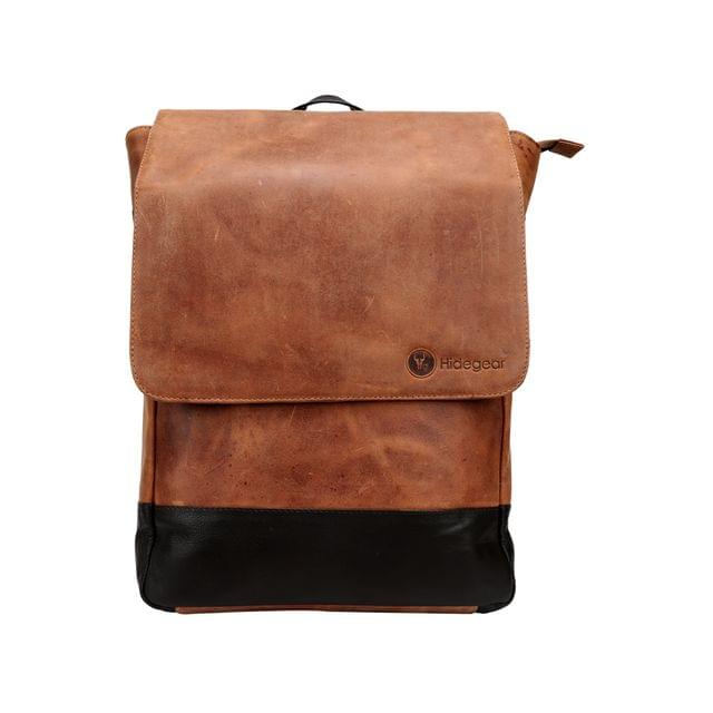Hidegear Genuine Vintage Leather Laptop Backpack-14 inches,HGTNLB0232 Tan