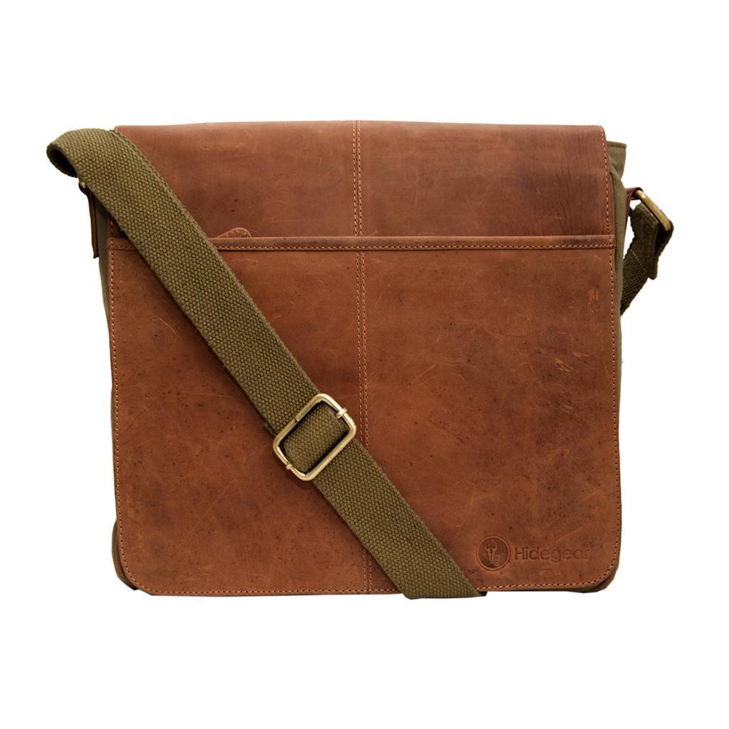 Hidegear Leather-Canvas Messenger Bag,HGOLMB0134 Olive