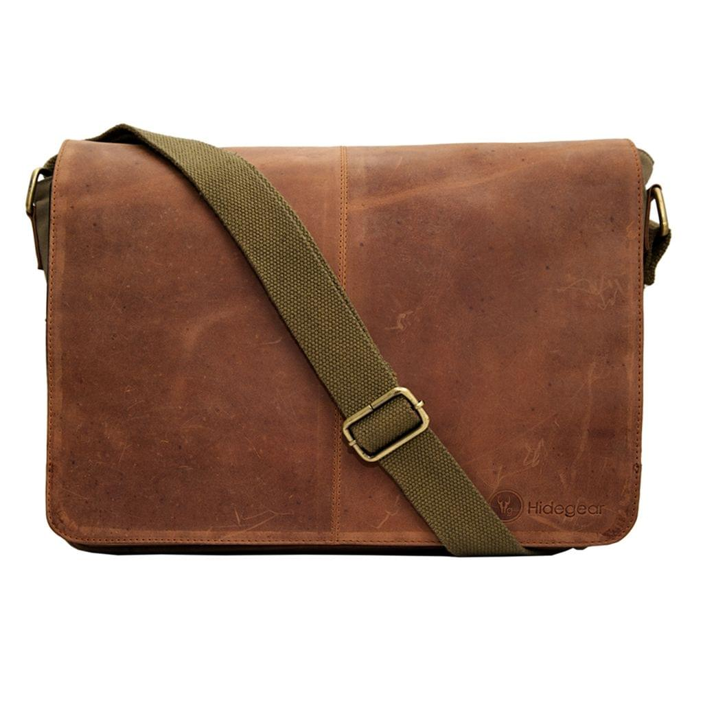 Hidegear Leather-Canvas Laptop Bag,14 inches HGOLLB0165 Olive