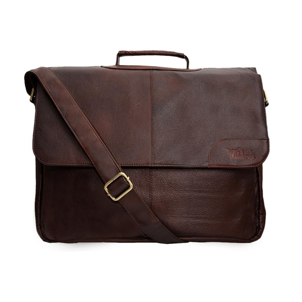 Hidegear Genuine Leather Overnighter  Bag,HKBBLB0007 Brown