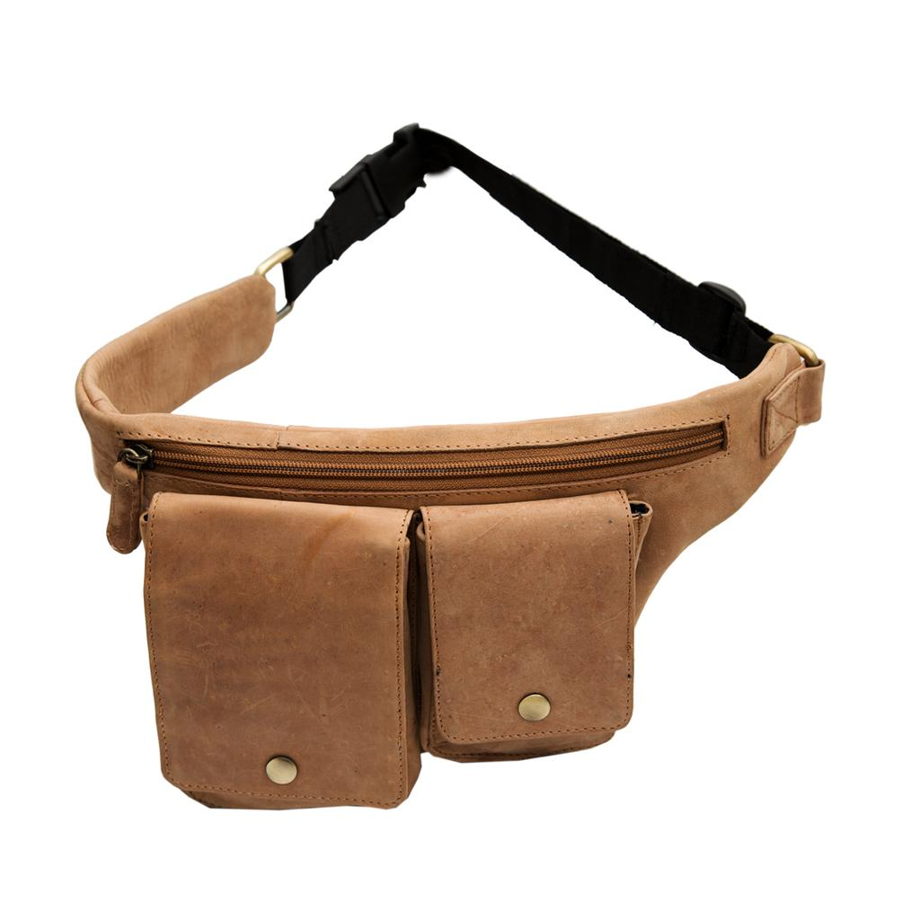 Hidegear Genuine Leather Bumbag/Waist Pouch,HGTNTP0234 Tan