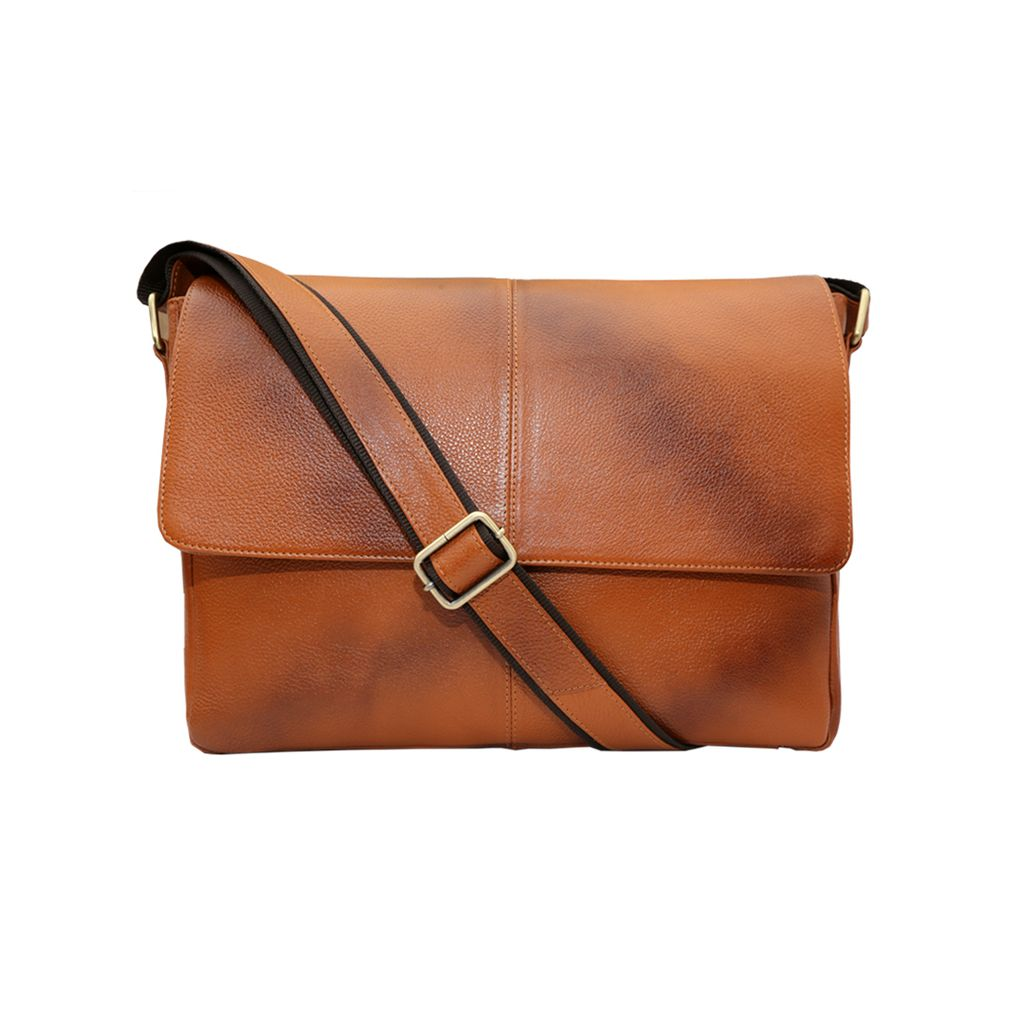 Hidekraft Leather Laptop Bag-15 inches,HKLPTN0011 Tan