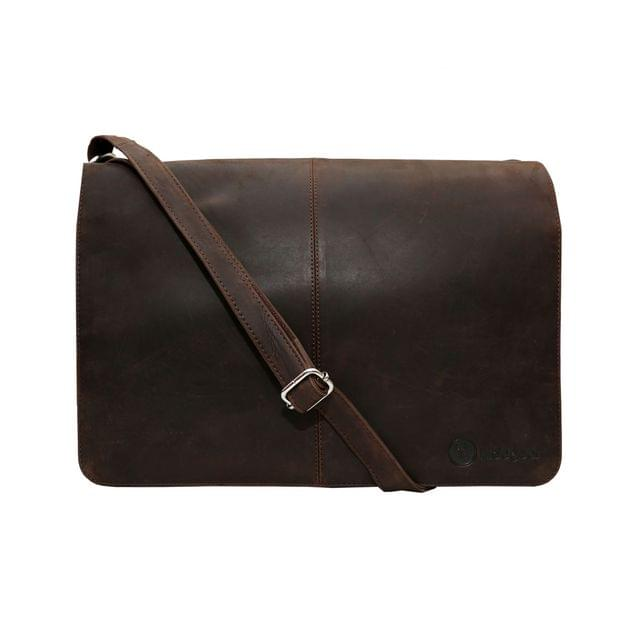 Hidegear Vintage Leather Laptop Bag-14 inches  , HGMBBR0010 Brown