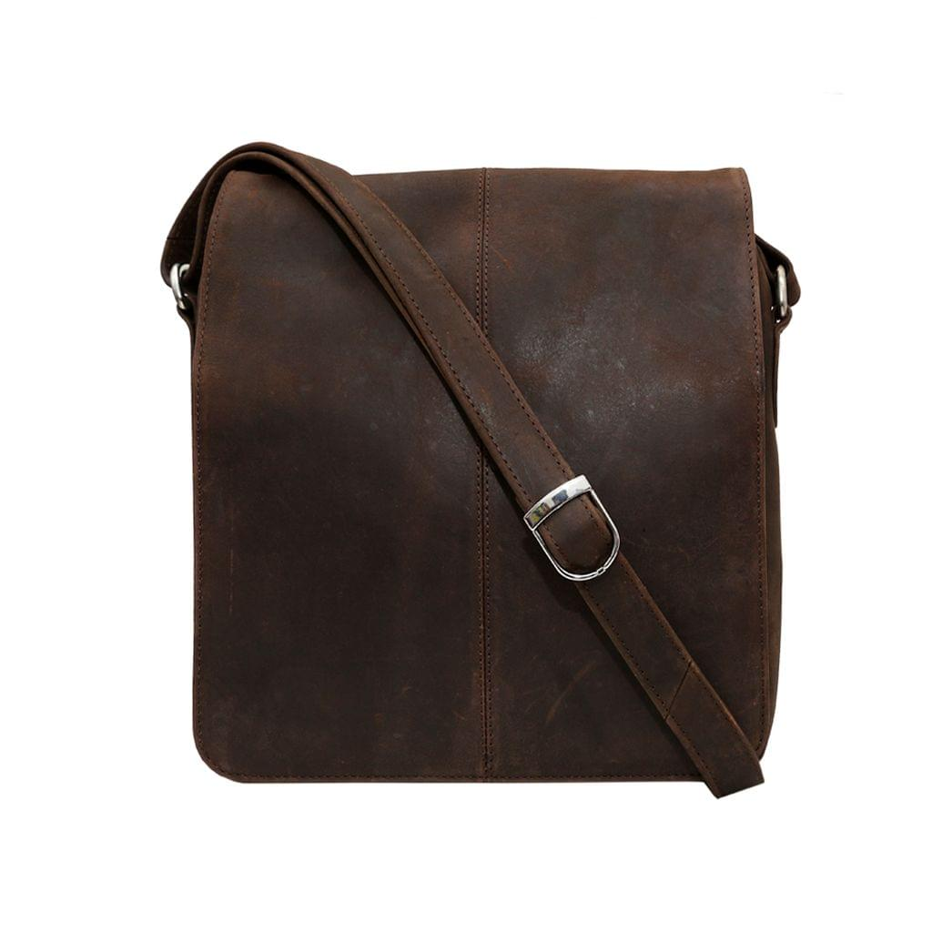 Hidegear Leather Messenger Bag ,MBMBBR0008 Brown