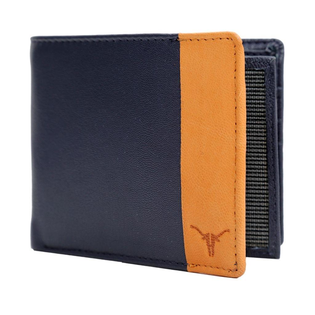 Hidekraft Men's's Leather Wallet,WLNVDU1015G Navy
