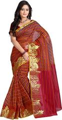 E-Vastram Checkered Banarasi Cotton, Silk Sari(Red, Gold)