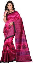 E-Vastram Printed Fashion Art Silk Sari(Blue, Pink)