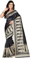 E-Vastram Woven Bollywood Poly Silk, Art Silk Sari(White, Maroon)