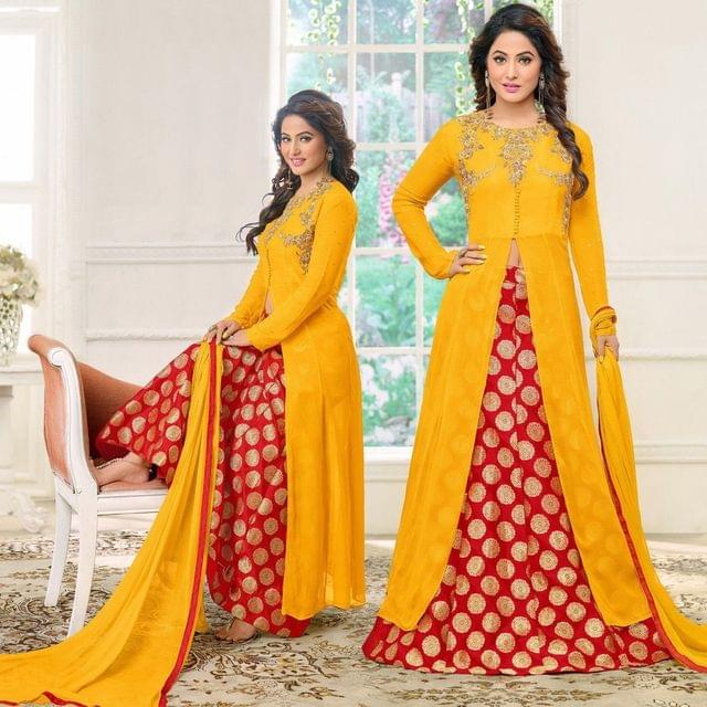Stylish Designer Yellow & Red Color Georgette Printed LehengaSASUNDAY-2007