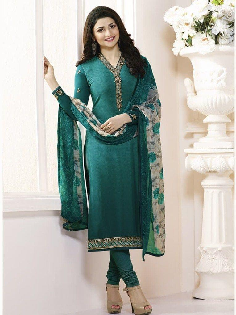 Stylish Designer Green Color Straight SuitVFSRC9-5371