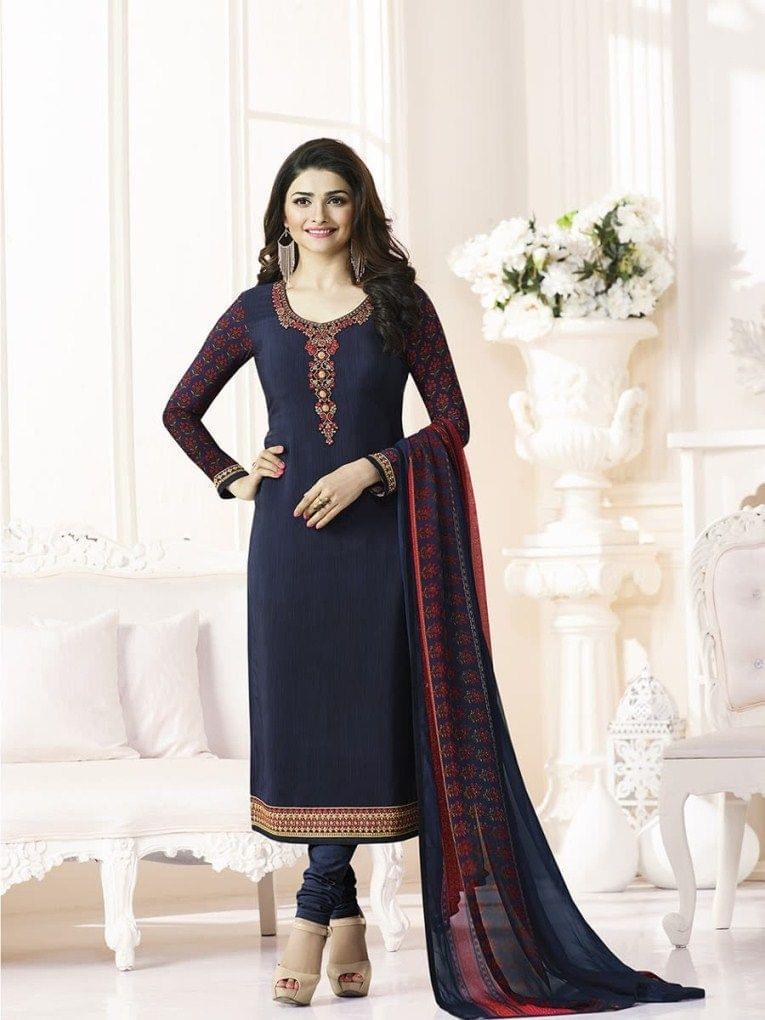 Good Looking Black Designer Straight  Salwar SuitVFSRC9-5375