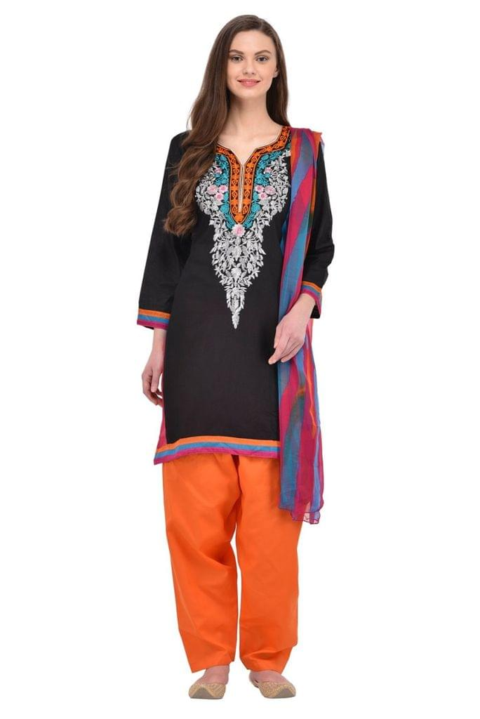 Presents  Embroidered Black Color With Printed Salwar Suit and  Dupatta SASUNDAY-1099