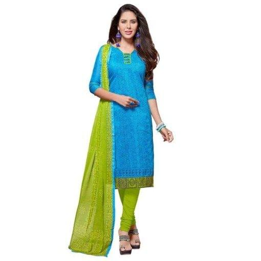 Charming Green Color Chanderi Cotton  SuitSF888