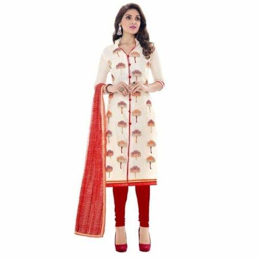 Charming White Color Chanderi Cotton  SuitSF890