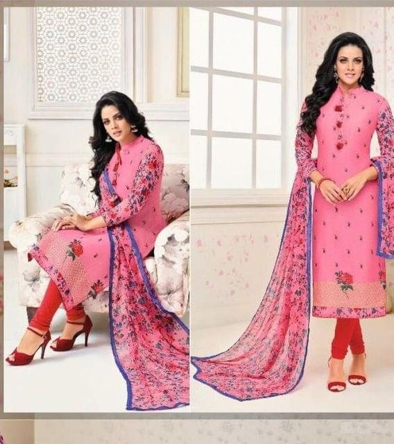 Elegent Pink Color Cotton Embroidered Straight SuitDairy milk -279